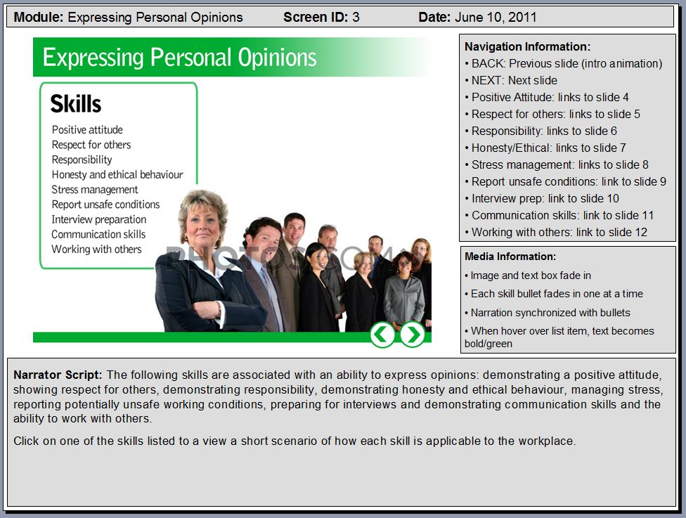 Powerpoint sample elearning storyboard slides flirting for Interactive storyboard template